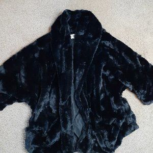 Open Front Faux Fur 3/4 Sleeve Jacket Size Small